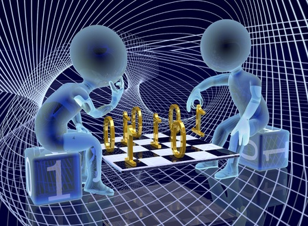 Two abstract semi-transparent characters are playing a kind of digital chess deep in the cyberspace  Dark blue background  3-dimensional render
