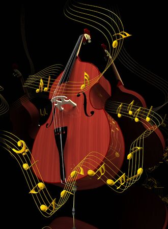 Contrabass surrounded with golden notes on black mirror background  3-dimensional render