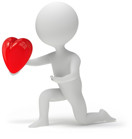 3d character holding his heart in hand