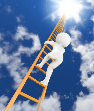 3d character climbing to sky with ladder  3d render  photo