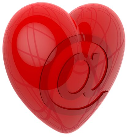 Sending 3d heart by internet email Stock Photo - 14215192