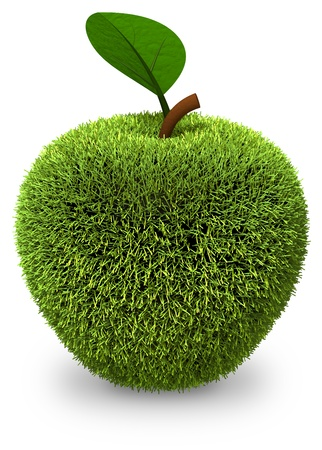 Apple covered with green grass isolated on white  3d render