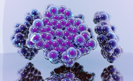 atomic structure: Atomic structure of cytochrome molecule shown as model made of spheres  Blue reflected background  Stock Photo