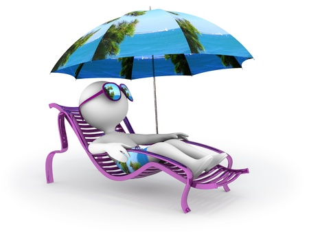 Abstract character lies in chaise longue under umbrella which depicts seascape with pine tree on foreground and dreams of seaside vacation with sun glasses over his eyes Stock Photo