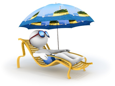 Abstract character lies in chaise longue under umbrella which depicts seascape with lighthouse  and dreams of seaside vacation with sun glasses over his eyes