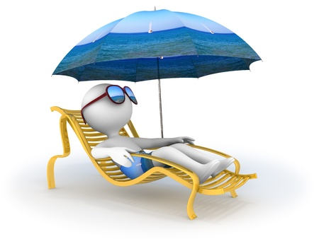 Abstract character lies in chaise longue under umbrella which depicts seascape and dreams of seaside vacation with sun glasses over his eyes  photo