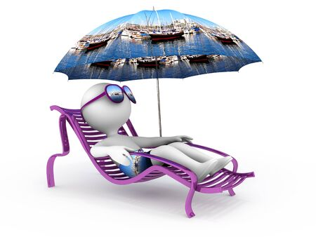 Abstract character lies in chaise longue under umbrella which depicts yachts docked in a bay and dreams of sailing vacation with sun glasses over his eyes Stock Photo