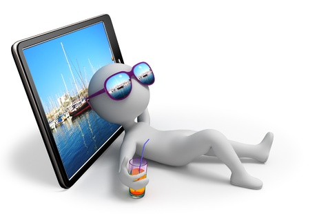 Abstract character lies near tablet which displays yachts docked in a bay and dreams of sailing vacation with sun glasses over his eyes and glass of drink in his hand  Stock Photo