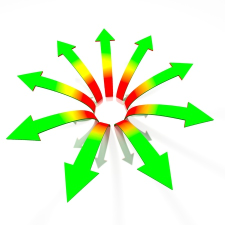 Conceptual divergent red to green gradient 3d arrows isolated on white background with reflections
