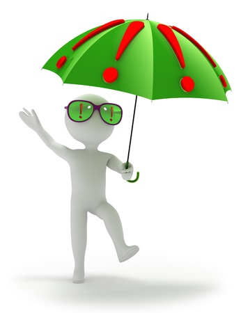 Abstract person stands under umbrella covered with exclamation marks also reflected  in eyeglasses  All problems are solved and decisions found  Three-dimensional   3D  render isolated on white  photo