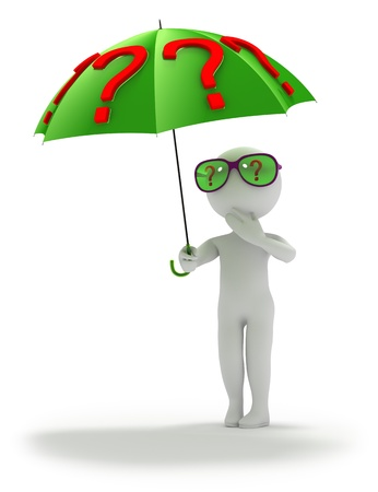 Abstract person stands under umbrella covered with question marks also reflected  in eyeglasses  Trying to solve current problems  Three-dimensional   3D  render isolated on white  photo