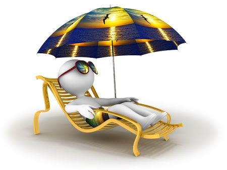 Abstract character lies in chaise longue under umbrella which depicts sea sunset with seagull silhouetted on foreground  and dreams of vacation with sun glasses over his eyes Foto de archivo