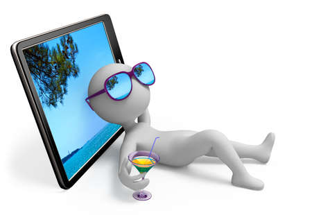 Abstract character lies near tablet which displays seascape and dreams of seashore vacation with sun glasses over his eyes and glass of drink in his hand photo