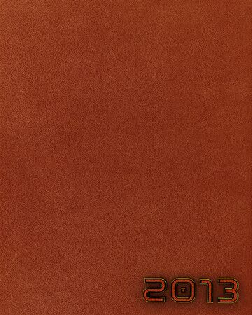 Leather background with 2013 new year label  Vertical orientation  Brown