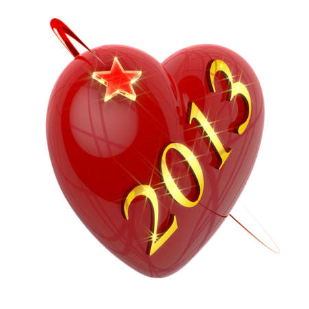 Golden digits of 2013 New Year across red heart encircled with flying star Stock Photo