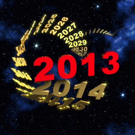 2013 new year text leading the spiraling row of years disappearing in starry sky
