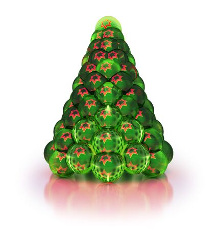 Stylized Christmas tree with reflected stars  Iisolated on white  3-d render  Stock Photo