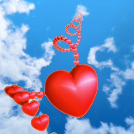 Red hearts flying in the sky  Helix made of hearts vanishing in distant cloud  Stock Photo