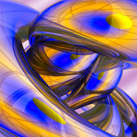 Abstract colorful festive background made of rounded shining forms  Mainly blue and gold  Stock Photo