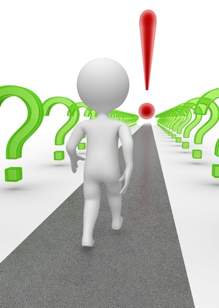 Abstract character on the road surrounded with question marks  His goal is to answer questions and make successful decision  Three-dimensional   3D  render on white Stock Photo