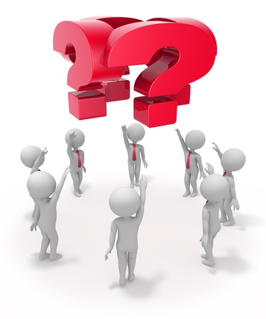 Group of abstract characters thinking of problem while standing in circle and watching at question signs above them  Stock Photo