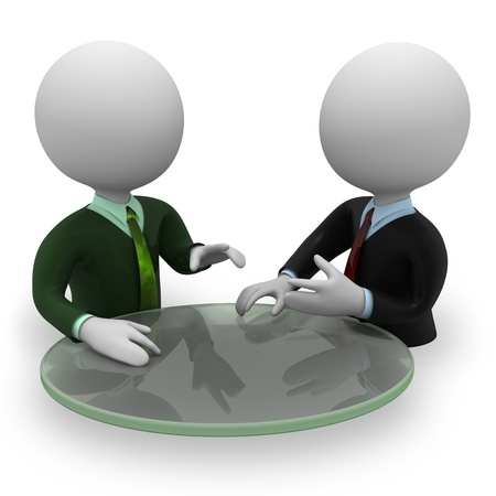 opinions: Two persons negotiation Stock Photo