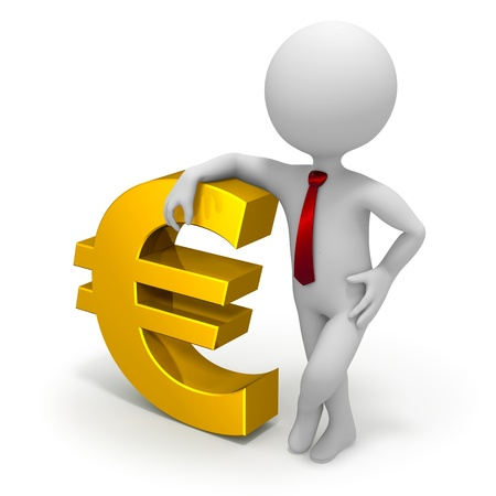 Businessman and euro currency symbol Banco de Imagens