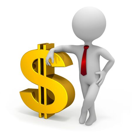 Businessman and dollar currency symbol Stock Photo