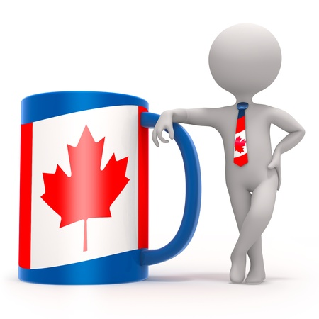 Cup with Canadian flag and small character wearing tie