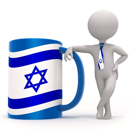 Cup with Israel flag and small character wearing tie photo