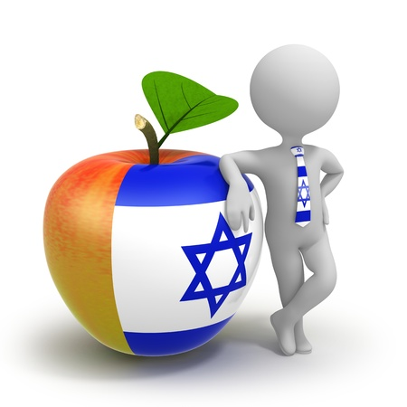 Apple with Israel flag and businessman wearing national tie photo