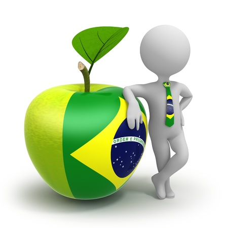 Apple with Brasilian flag and businessman wearing national tie