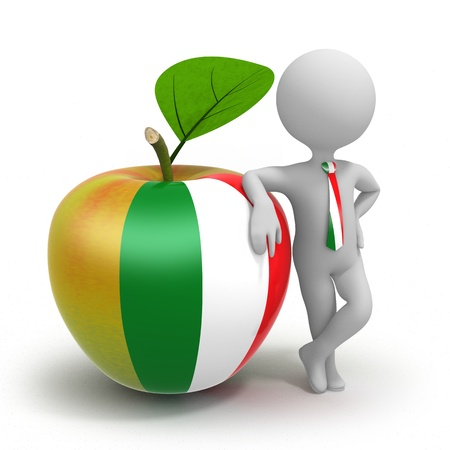 Apple with Italian flag and businessman wearing national tie photo