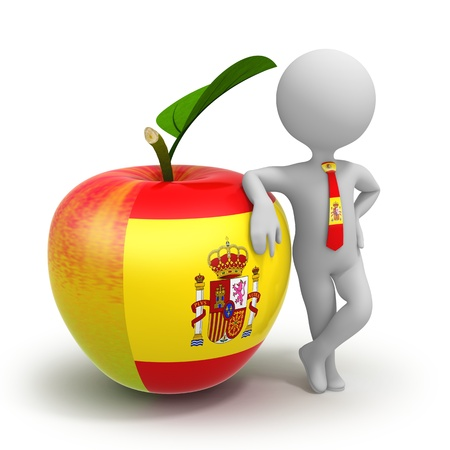 Apple with Spanish flag and businessman wearing national tie Stock Photo