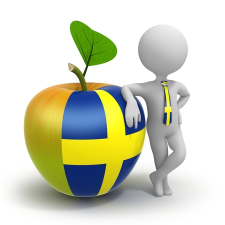 Apple with Sweden flag and businessman wearing national tie Stock Photo - 21661680