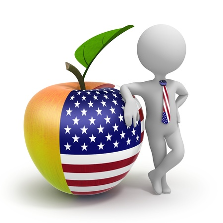 Apple with USA flag and businessman wearing national tie