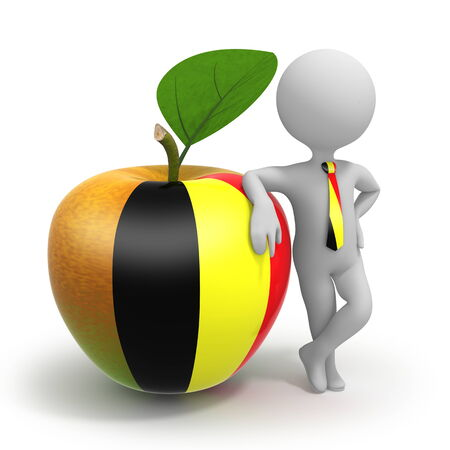 Apple with Belgium flag and businessman wearing national tie