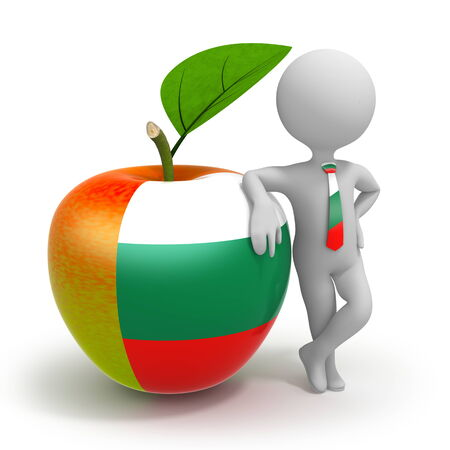 Apple with Bulgaria flag and businessman wearing national tie