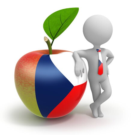 Apple with Czech Republic flag and businessman wearing national tie