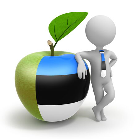 Apple with Estonia flag and businessman wearing national tie