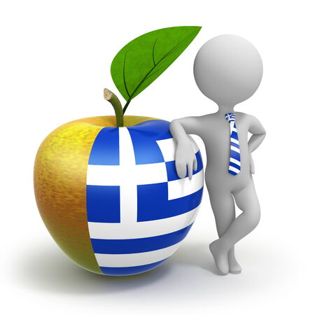 Apple with Greece flag and businessman wearing national tie