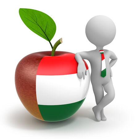 Apple with Hungary flag and businessman wearing national tie