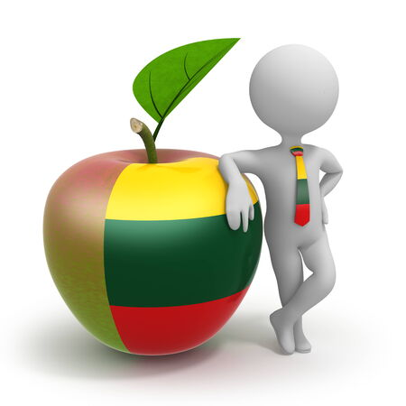 Apple with Lithuania flag and businessman wearing national tie Stock Photo