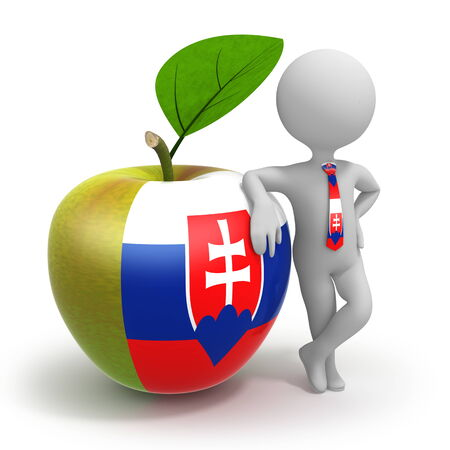 Apple with Slovakia flag and businessman wearing national tie