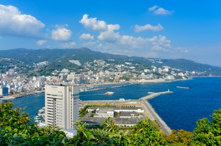 View of Atami and Sagami Bay, Shizuoka, Japan Banco de Imagens