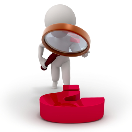 3d character with a magnifying glass investigates question photo
