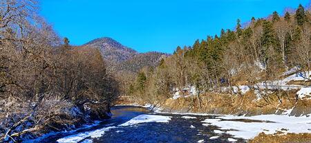 River in winter season Stock Photo