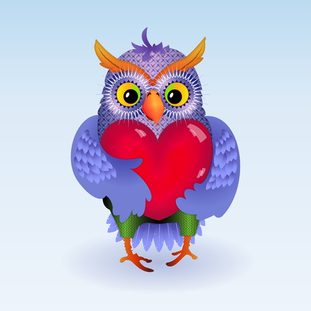 Owl with heart Vector