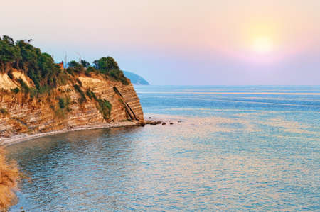 Sea shore sunset