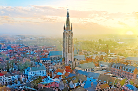 Church Of Our Lady Bruges at sunset Stock Photo